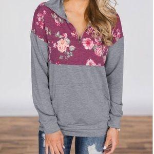 Floral and grey sweatshirt